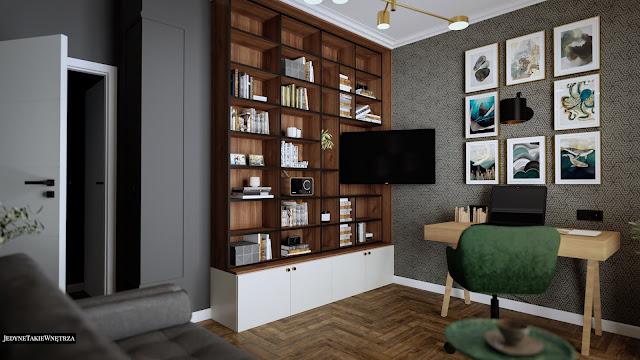 Eklektyczny gabinet do pracy, w którym znajduje się drewniane biurko z laptopem, a tuż obok - domowa biblioteczka.