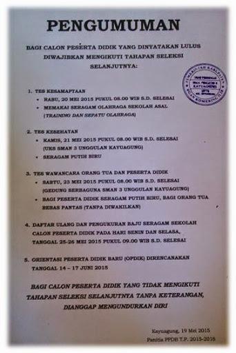 Rangkaian Tes PPDB TP. 2015-2016 SMAN 3 Unggulan Kayuagung