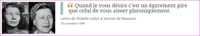 Lettre de Violette Leduc à Simone de Beauvoir
