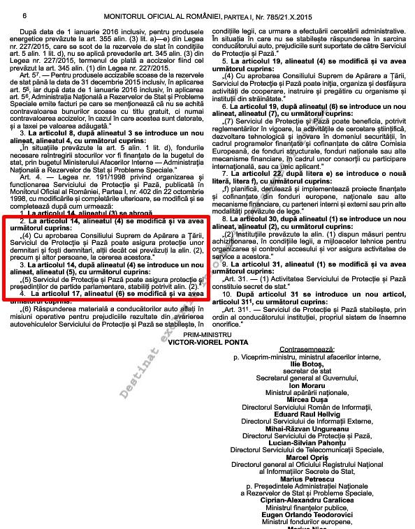 Ordonanţă de urgenţă, coloana oficială, SPP, Gabriel Oprea, Victor Ponta