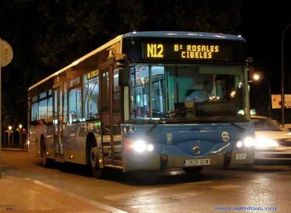 Localización de cabeceras de los autobuses nocturnos o búhos en Cibeles