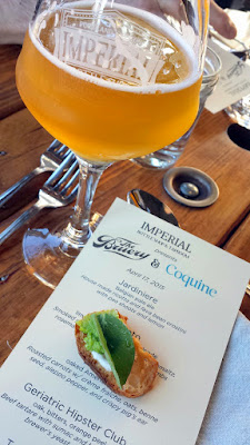 Imperial Bottle Shop and Taproom presents The Bruery and Coquine Beer Pairing Dinner. Here, Course 1 of Jardiniere, a Belgian pale ale, crisp & refreshing paired with House made ricotta and fava bean crostini with pea blossoms and lemon