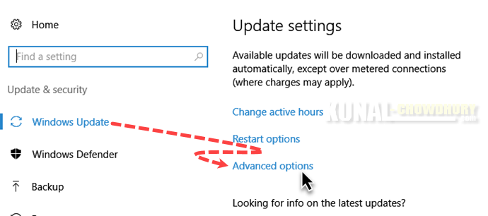 Windows 10 Settings - Windows Update - Advanced options (www.kunal-chowdhury.com)