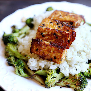 Roasted Broccoli with Sesame Tofu and Brown Rice.