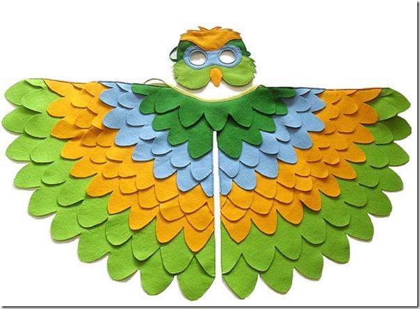 disfraz de pajaros, buhos cisnes con poncho (7)