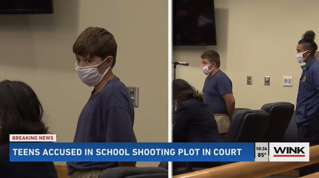 Two teenage boys accused of plotting to carry out mass school shooting appear in court