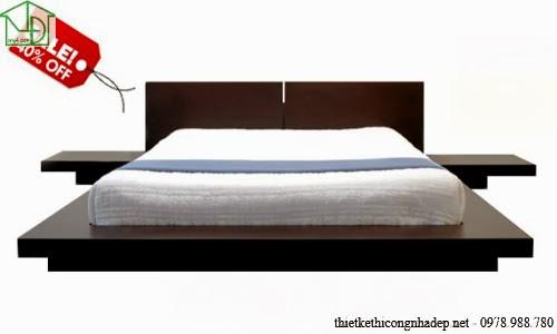 Giường ngủ gỗ veneer kiểu dáng hiện đại