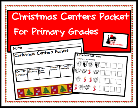 Christmas center packet = 5 free activities for primary students - from Raki's Rad Resources.