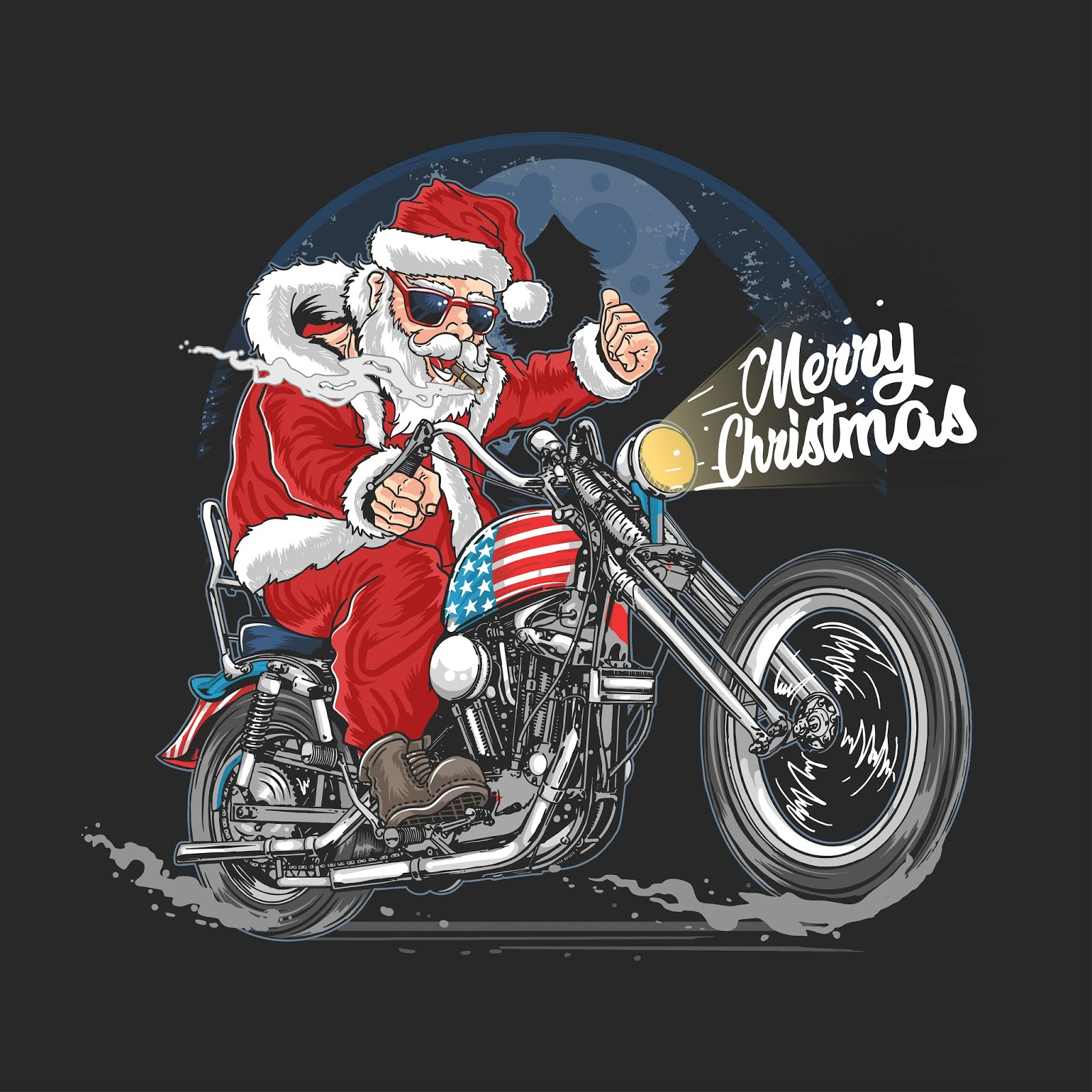 Santa Claus Christmas Usa America Tour Biker Motorcycle Motorbike Cooper Illustration Free Download Vector CDR, AI, EPS and PNG Formats