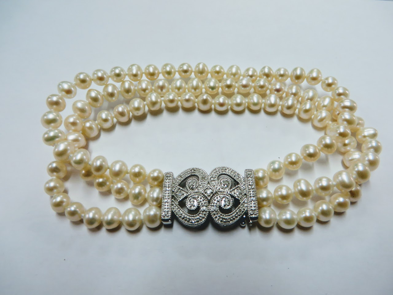 Diamond, Sterling, and Pearl Bracelet