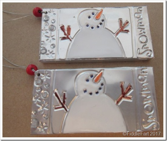 foil embossed and enamel snowman tage Ranger Enamel Accents