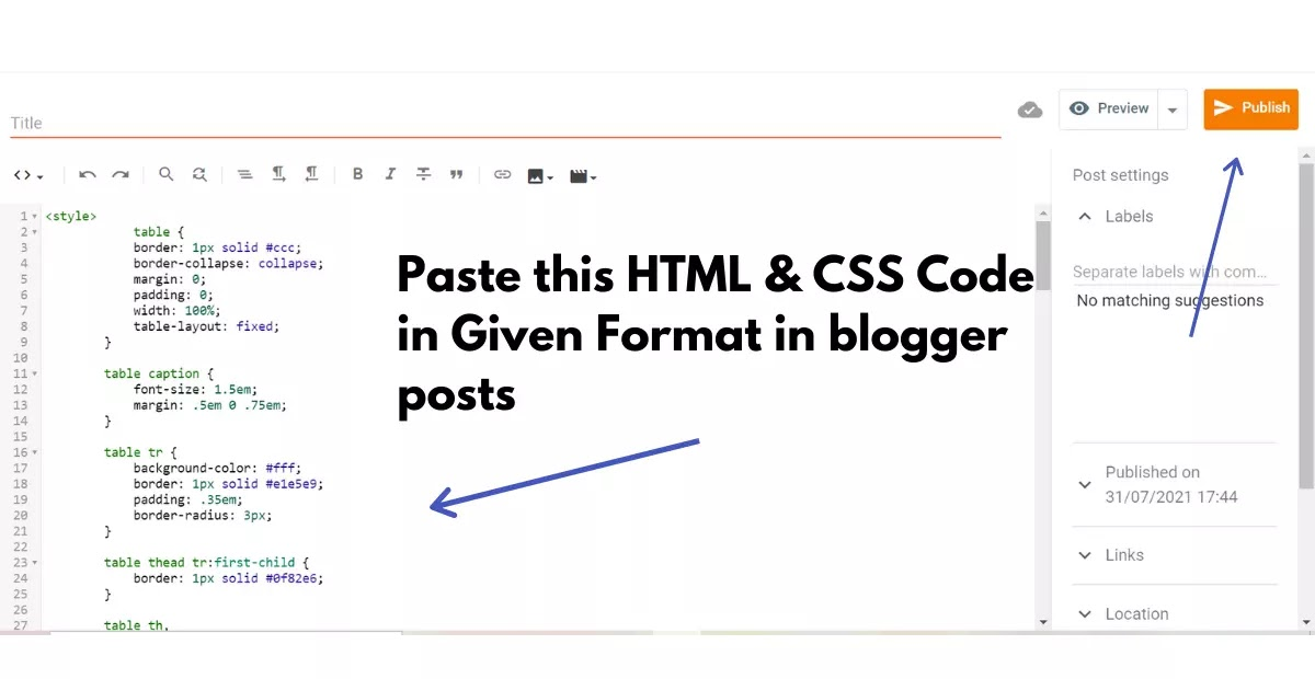 Adding code in responsive table in blogger posts