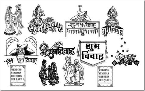 Indian Wedding Symbol Photoshop Brushes Collection Graphics Elements