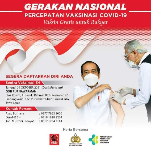 DPP Projo Akan Gelar Vaksinasi Serentak Tahap Awal se-Jawa Barat, Asep Burhana: Rakyat Sehat Ekonomi Bangkit