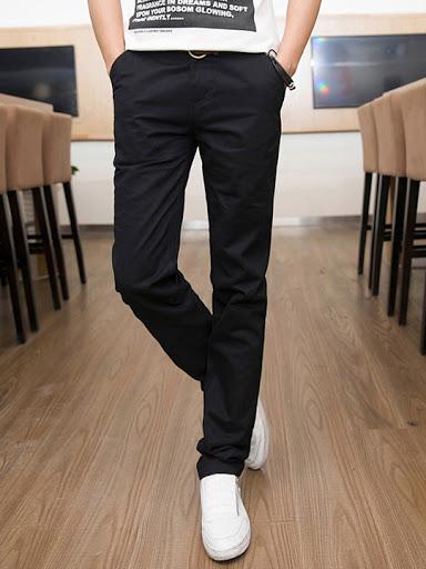 Đẳng cấp thời trang nam khi diện quần kaki nam Hàn Quốc màu đen