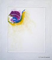 """""""Farbsonne in Weiß"""", Acryl mit Schnur, 70x80, 2007 verkauft"""
