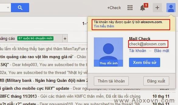 Giao diện của email sử dụng dịch vụ mail google apps khác với Gmail phần domain riêng
