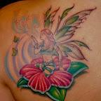 fairy and flower - Shoulder Blade Tattoos Designs