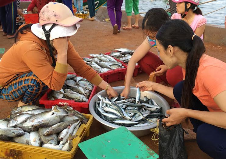 Tôm, cá bán tại đảo luôn được người tiêu dùng ưa chuộng.