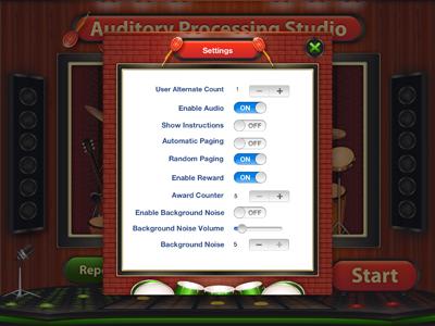 Auditory Processing Studio Settings