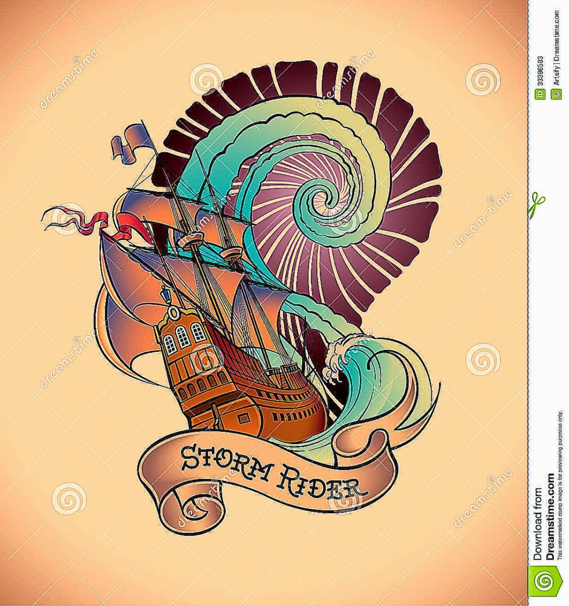 Old school Tattoo   Storm Rider Stock Photos   Image 33386583