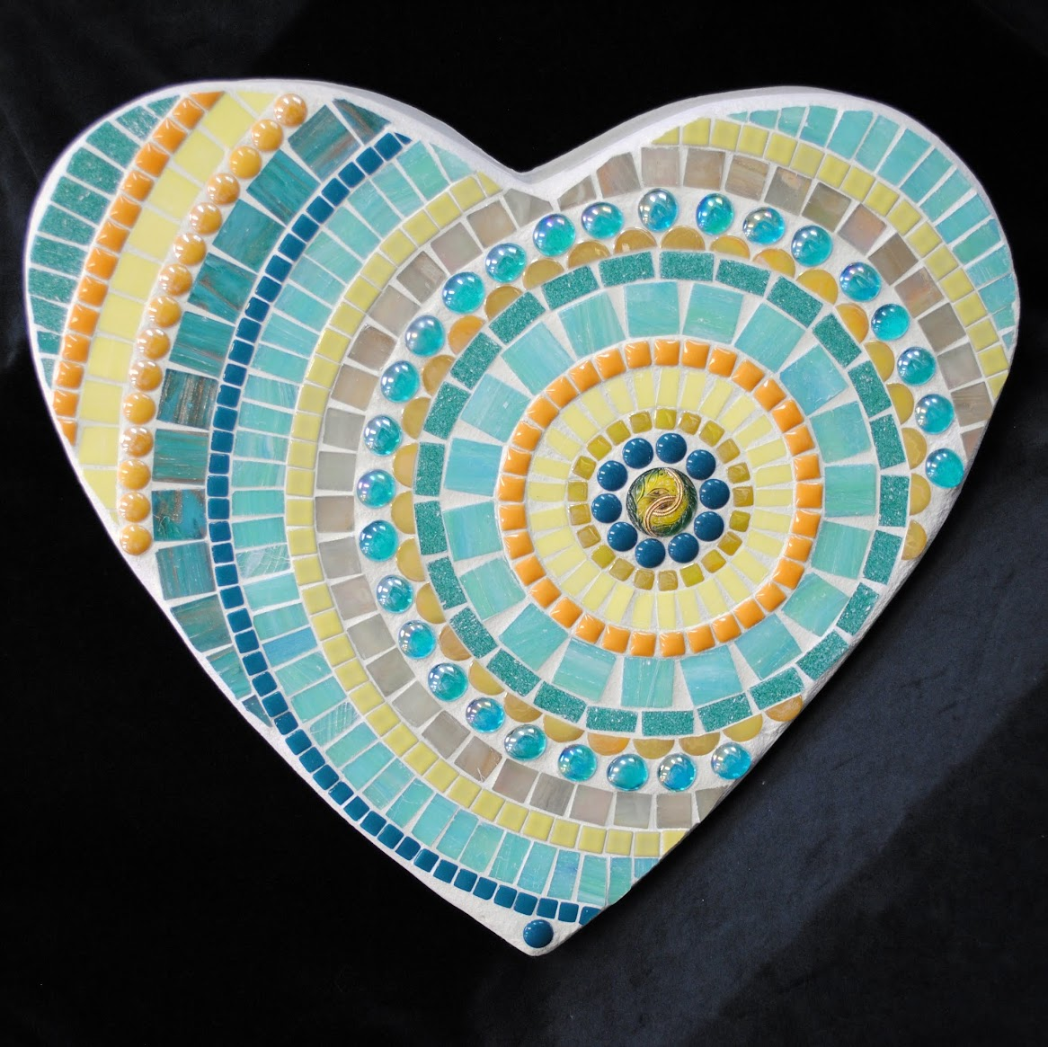 Moonlit Marigold Large Heart Mosaic Stepping Stone MOO5094