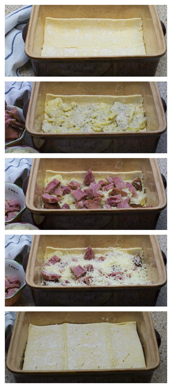 Cheesy ham and potato pie assembly