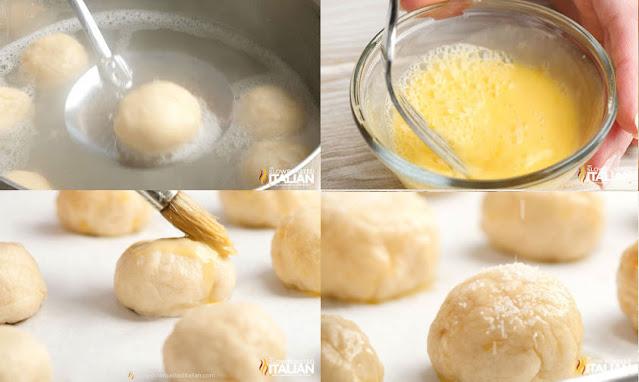 collage: boiling pretzels, egg wash, brushing dough with egg wash, salt on dough