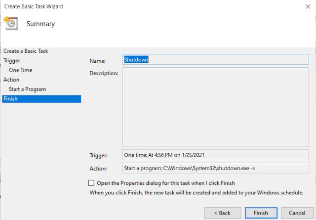 Schedule Windows Shutdown Task 6