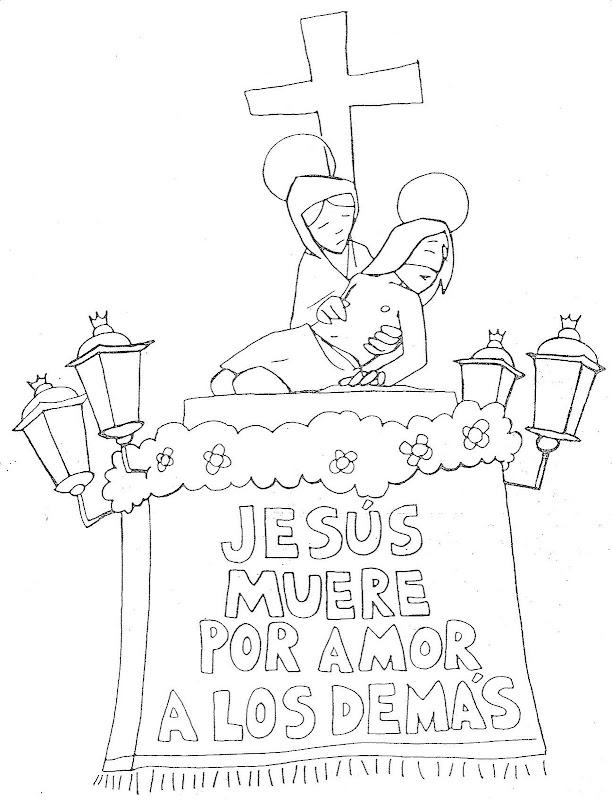 Jesus muere por amor para colorear