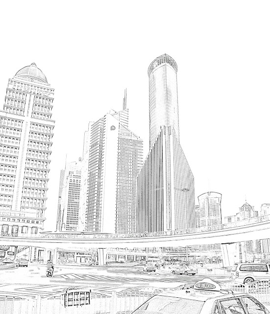 shanghai skycrapers sketch