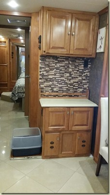 Litter Box Cabinet Pulled Out