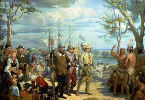 Peter Minuit, negotiates with Native Americans