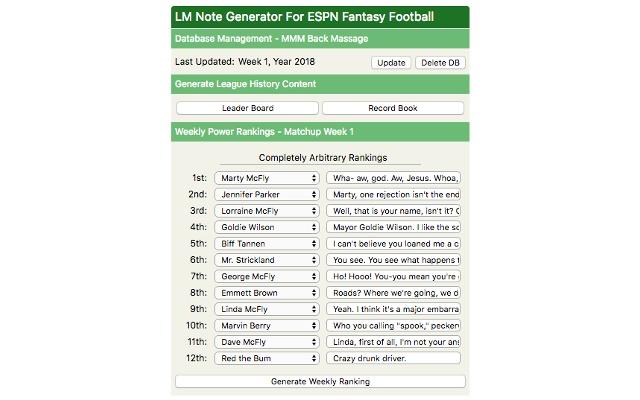 LM Note Generator For ESPN Fantasy Football