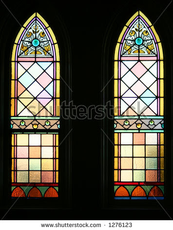 Cathedral glass showing leadlight glass and coloured glass panes