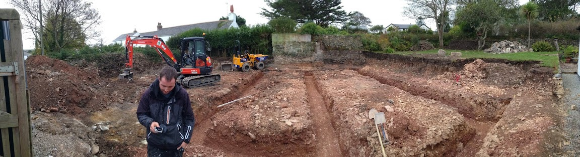 Trenches for footings
