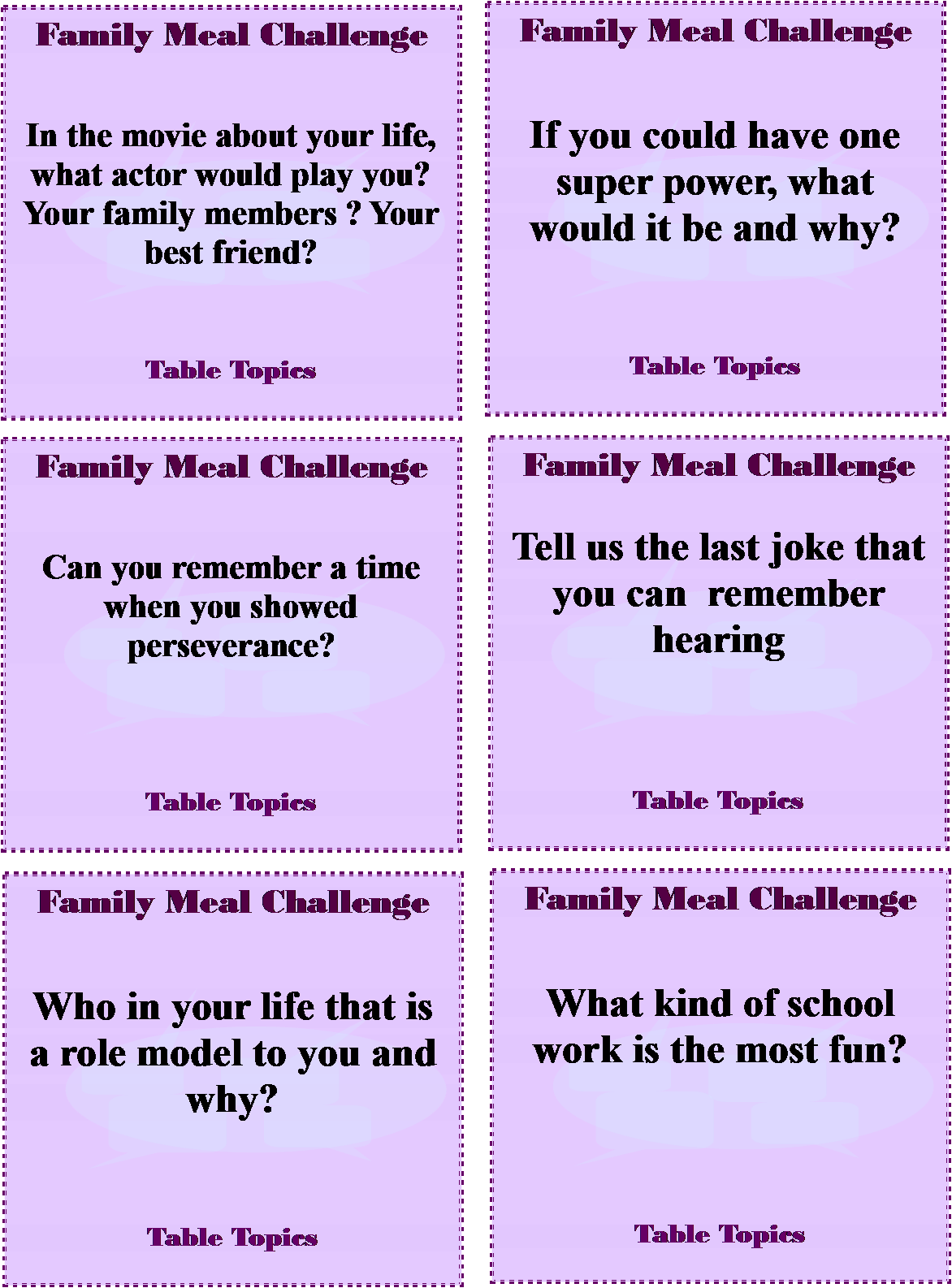 Table topics questions resolutions