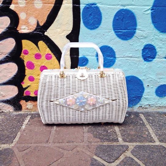 Lola, the Lucite White Wicker Vintage Handbag | Lavender & Twill