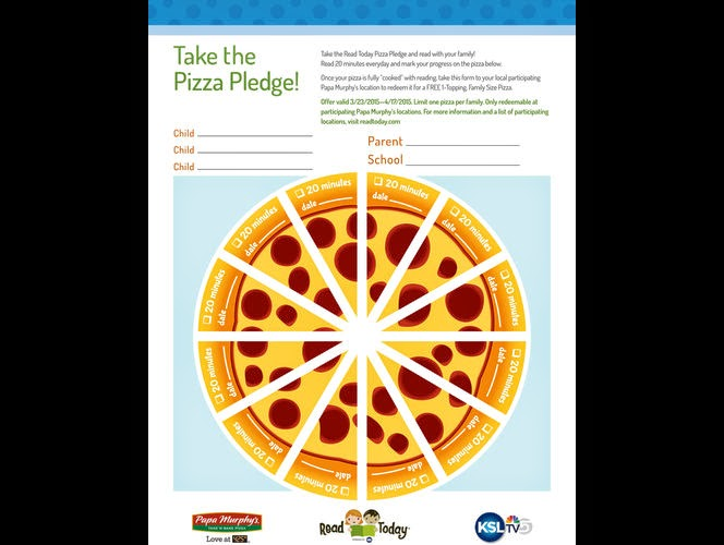 Read 20 Minutes per day for a FREE Papa Murphy's Pizza!