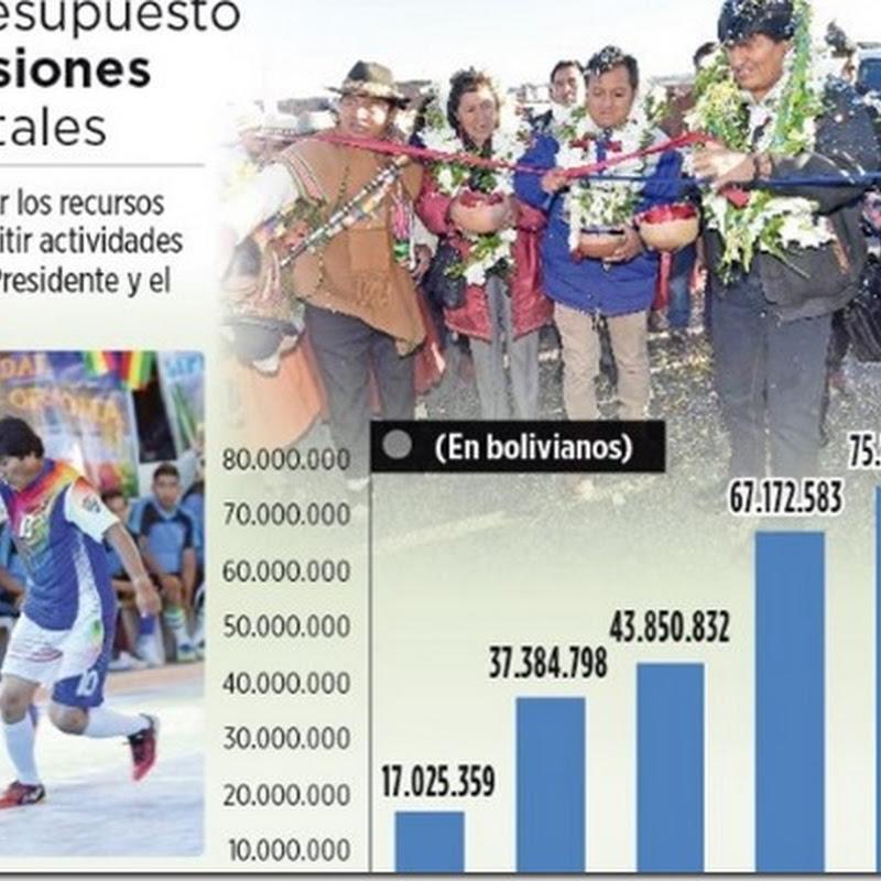 Desde 2011 gastaron Bs 300 MM en transmisiones de Evo Morales