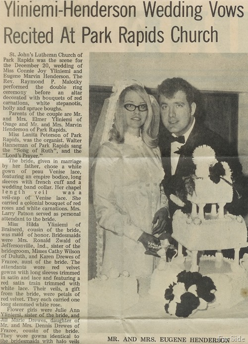 Wedding announcement in the newspaper