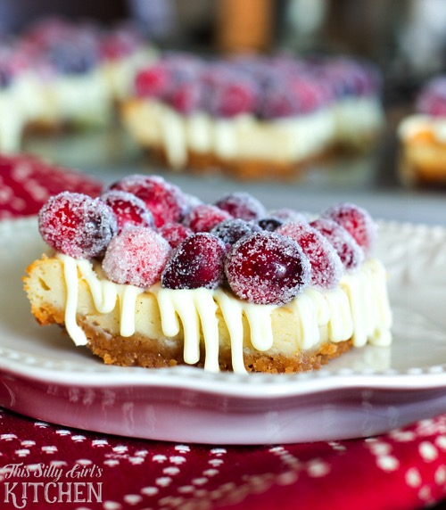 White Chocolate Cranberry Cheesecake Bars from This Silly Girls Kitchen