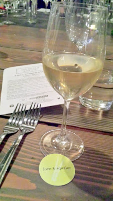 love & squalor wine 2013 Riesling served with the first course at the Salt Fire Water dinner with Williams Sonoma New Seasons Jacobsen Salt