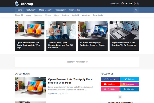 TechMag Premium Blogger Template Free Download