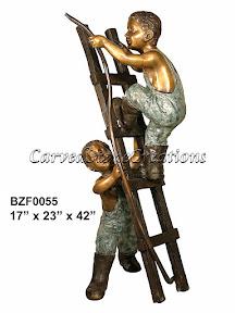 Boys, Bronze, Fountain, Hose, Ladder, Statue