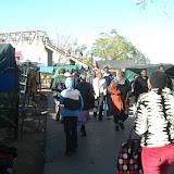 The vendors near the bus rank