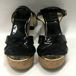 Jimmy Choo Patent Leather Black Cork Wedges