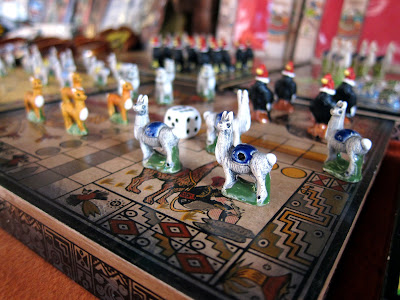 Chess set with llamas in Machu Picchu Peru
