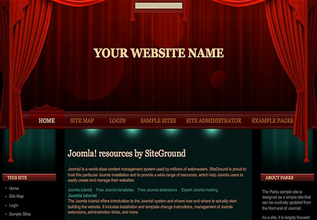 Theatre Joomla Red Green Theme Template