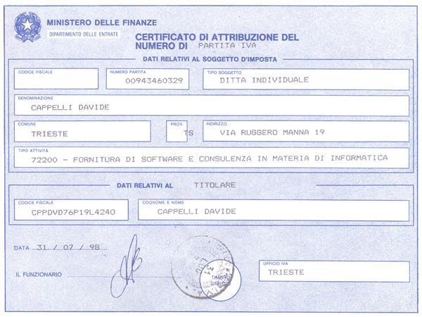 Certificato di Attribuzione di Numero di Partita IVA